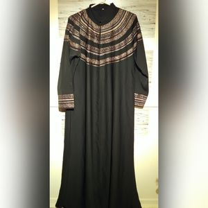 Women's Embroidered Black Abaya with Scarf